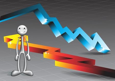 The man standing on the background of bulk arrows. Design vector illustration. Illustration