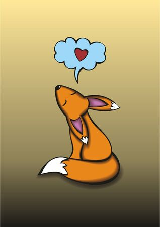 Fox dreaming about love. Vector illustration.