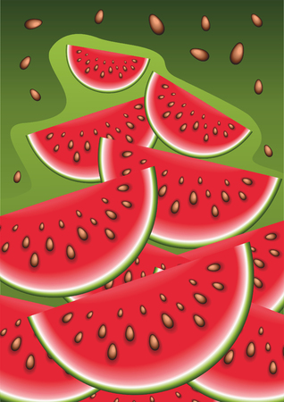 Slices of watermelon. Abstract vector illustration.
