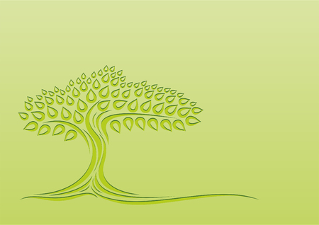 Tree silhouette on a green background. Vector illustration.