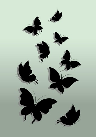 Flying butterflies. Vector illustration. Abstract background.