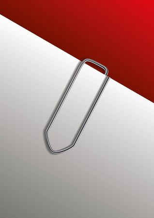 Paperclip on paper. Vector illustration.