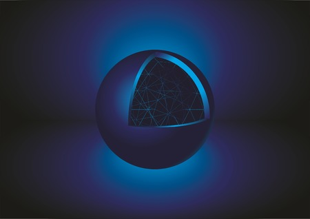 Abstract Blue Sphere 3D. Vector illustration.