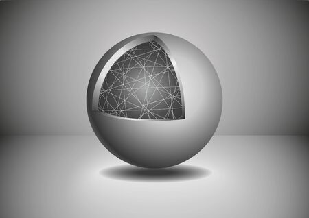 Gray Abstract 3D sphere. Vector illustration.