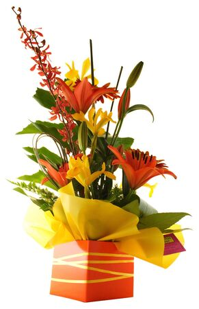 get well: Flowers in a gift box Stock Photo