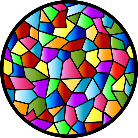 merged: This design was inspired by the texture of a glass panel in my kitchen. Ive also always admired the round window of the house opposite mine, so I merged the two, added colour, and there you have it - Stained Glass Circular Window!! Illustration