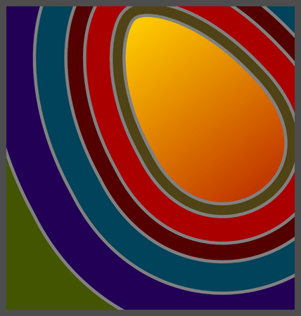 egg shaped: 60s70s Retro concentric colours with egg shaped copy space Illustration