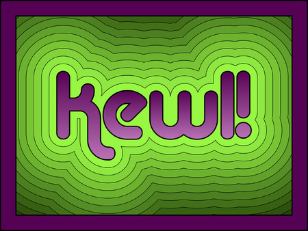 Kewl has become a popular fun alternative to the word cool. Vector file - There is the option to remove the frame, as the offsets continue under the frame to the edge of the artboard.  Illustration