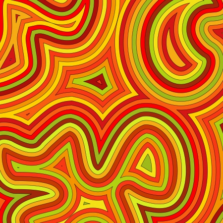 Offset swirly, psychedelic pattern in autumnal colours.