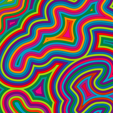 groove: Offset bright, swirly, psychedelic pattern. Illustration