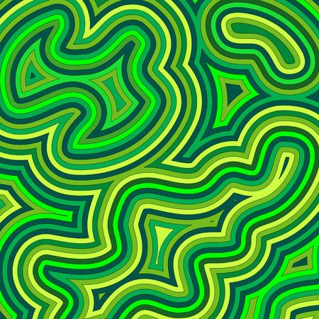 Modello swirly, psichedelico di offset in tonalit� di verde.