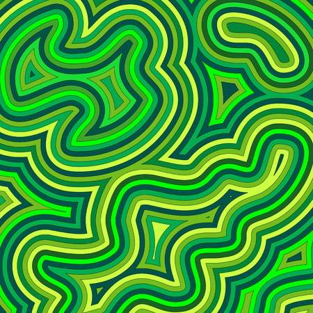 60's: Offset swirly, psychedelic pattern in shades of green.