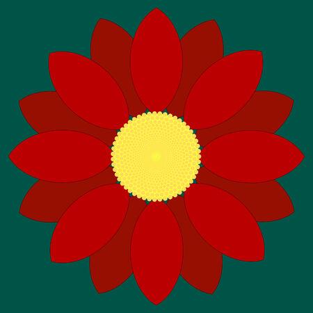 Simple red flower design. Illustration