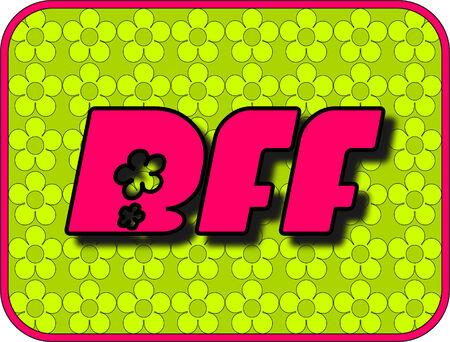 Un divertente icona con BFF (Best Friends Forever).