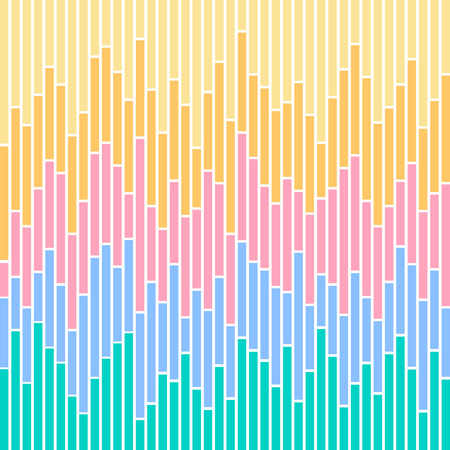 Vertical stripes in pastel colours, based on bar charts. Illustration