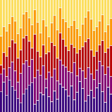 Strisce verticali in colori al tramonto, basate su grafici a barre.