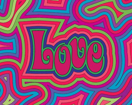 Groovy Love psichedelico con turbinii di offset.  Vettoriali