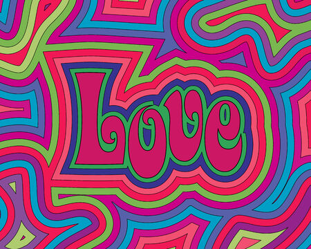 60s hippie: Groovy psychedelic Love with offset swirls.