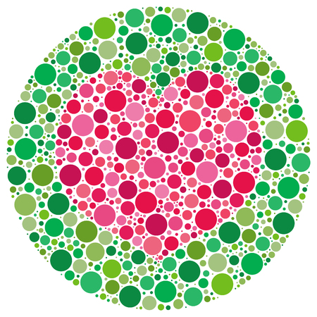 Heart shape made of circles, inspired by colour blind tests. The vector version has the heart and main circle templates as a hidden layer.