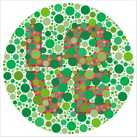 Inspired by colour blind tests, the word LOVE is behind green dots, which may be hard to see if one is colour blind!