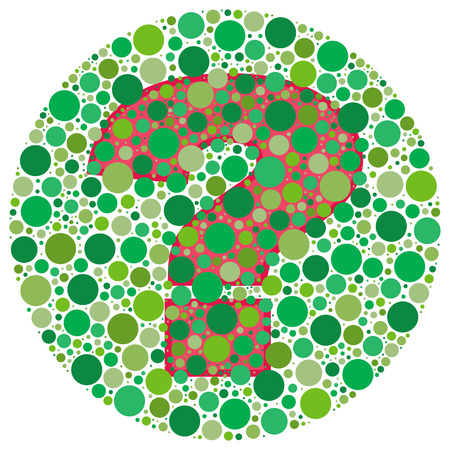 test pattern: Inspired by colour blind tests, the question mark is behind green dots. Can you see it?!