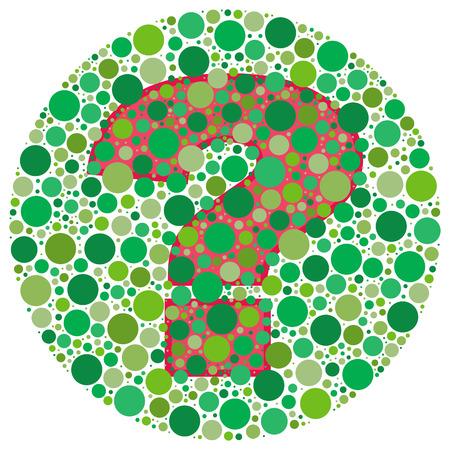 Ispirato da test ciechi di colore, il punto interrogativo � dietro punti verdi. Si pu� vedere?  Vettoriali
