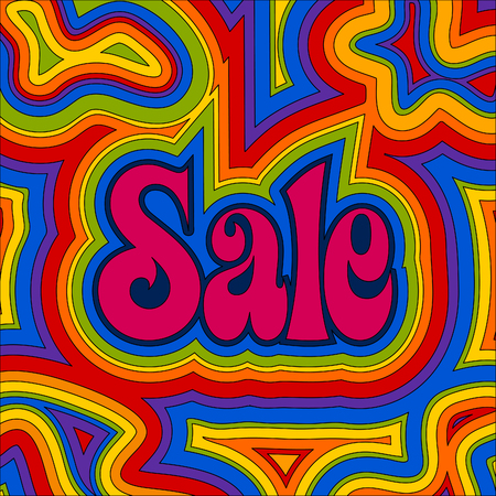 Late 60s retro Sale design with psychedelic rainbow offset swirls.