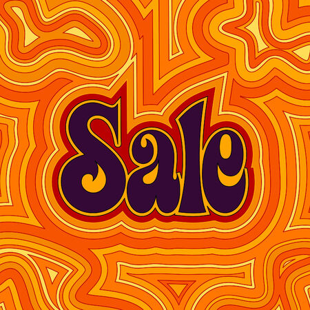 online specials: 60s retro Sale design with psychedelic orange offset swirls.