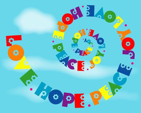 anni settanta: Un disegno a spirale divertente di 'Amore, Speranza, Pace, Gioia' in colori dell'arcobaleno.