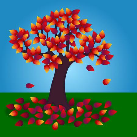Un albero in autunnocaduta con foglie cadute sul terreno. Vettoriali