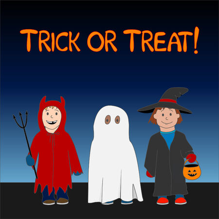 Halloween Trick or Treat illustration with three children dressed as a witch, ghost and little devil.