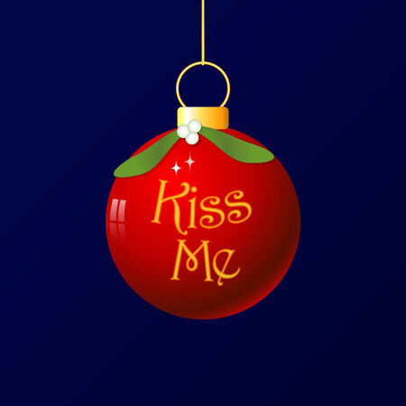 A fun christmas bauble with mistletoe decoration. As its traditional to kiss under the mistletoe, I added the words Kiss Me. Vector