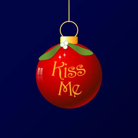 Un divertente pallina di Natale con decorazione di vischio. � tradizionale per il bacio sotto il vischio, ho aggiunto le parole Kiss Me. Vettoriali