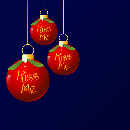 A fun christmas bauble with mistletoe decoration. As its traditional to kiss under the mistletoe, I added the words Kiss Me. Illustration