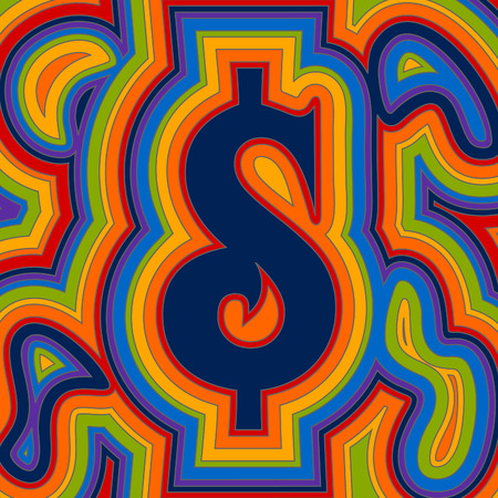 A groovy dollar sign with psychedelic offset swirls in rainbow colours. Illustration