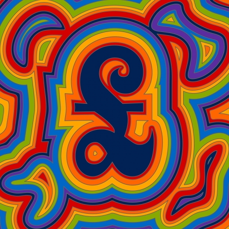 A groovy British pound sign with psychedelic offset swirls in rainbow colours. Illustration