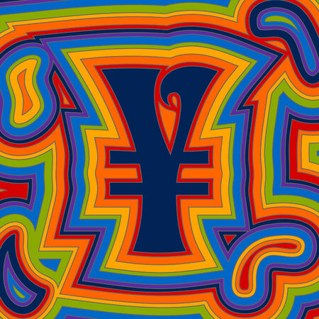 A groovy Yen sign with psychedelic offset swirls in rainbow colours.