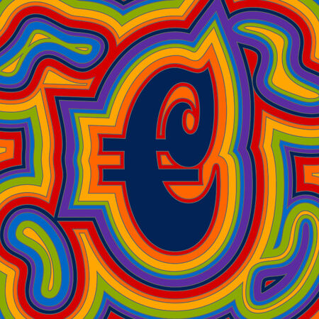A groovy Euro sign with psychedelic offset swirls in rainbow colours.