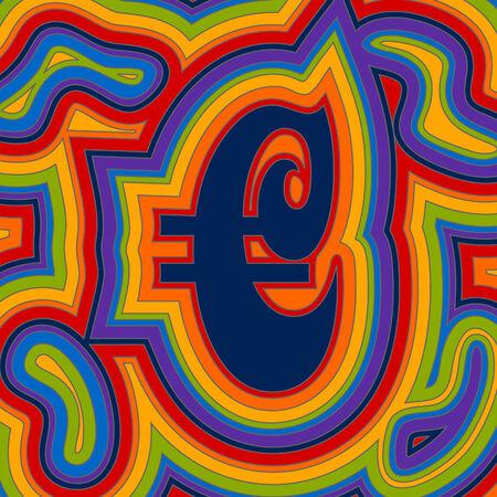 Un segno di Euro groovy con psichedelici turbinii offset in un arcobaleno di colori.
