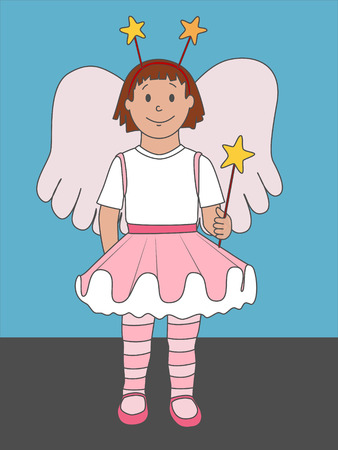 A cute illustration of a little girl dressed up as an angel or fairy. Not just for Christmas, but for any time of year!