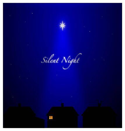 Notte silenziosa nella periferia di impostazione. Tutti addormentati tranne una persona con la luce di una candela - speranza e pace. Archivio Fotografico