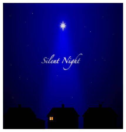 christmas religious: Silent night in suburban setting. All asleep except one person with candle light - Hope and Peace.