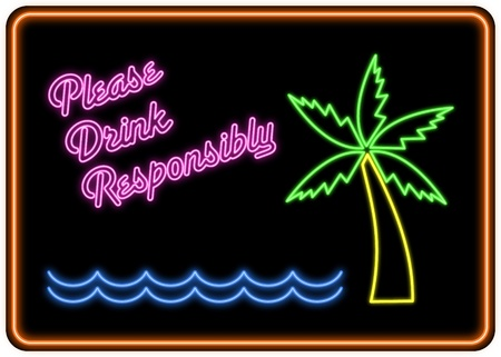 Please Drink Responsibly neon sign in the style of a cocktail bar sign. Stock Photo