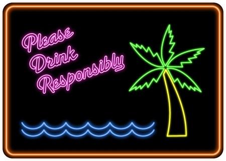 �Si prega di bere in modo responsabile� al neon segno nello stile di un cocktail bar firma.
