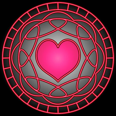 Pink heart and swirly patterns in a circle.