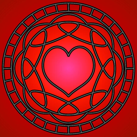 Red heart and metalic swirly patterns in a circle. Vector
