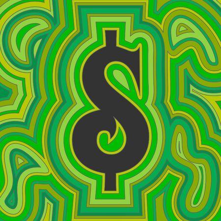 reduced value: Un signo de d�lar groovy con remolinos de desv�o psicod�licos en tonos de verde.