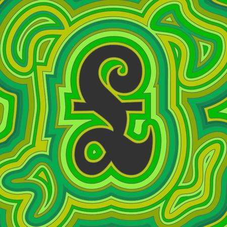 Un segno di sterlina britannica groovy con turbinii di offset psichedelici in tonalit� di verde.