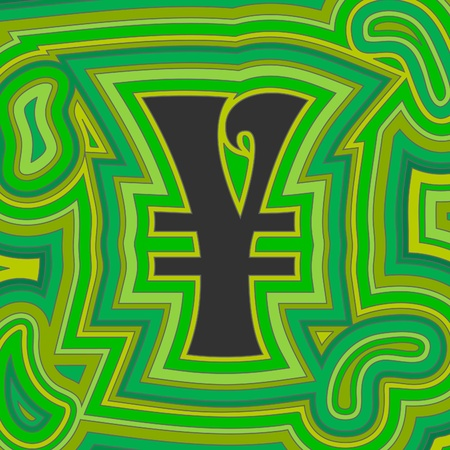 reduced value: A groovy Japanese Yen sign with psychedelic offset swirls in shades of green.