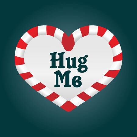A fun christmas candy cane in a heart shape. As its around the theme of love, I added the words Hug Me Illustration